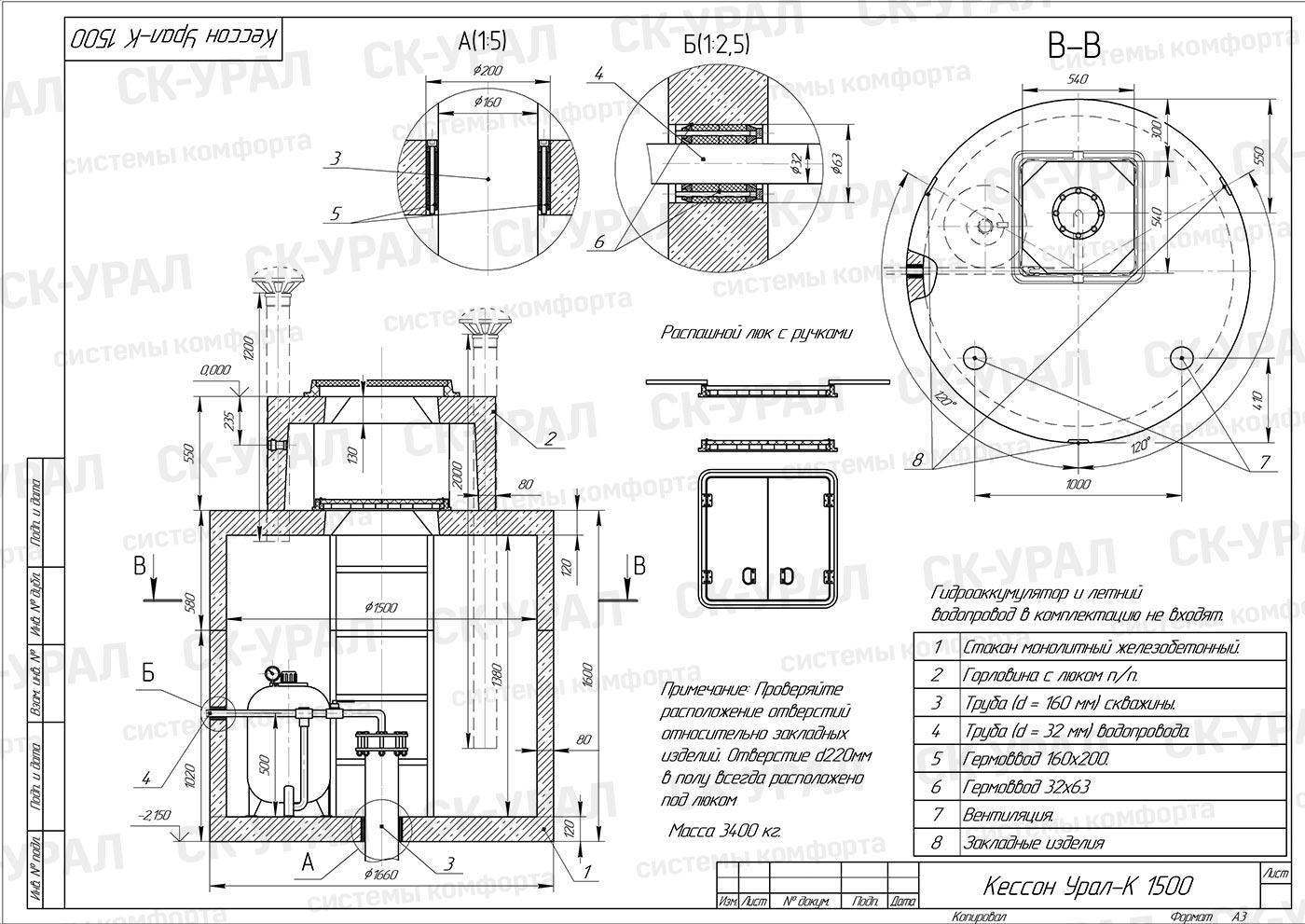 Схема кессона «d-1500» утепленного